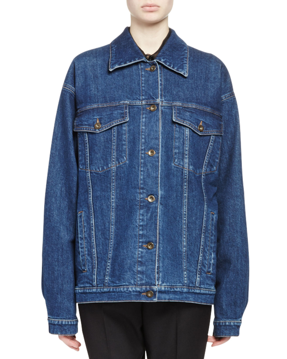 Swan-Embroidered Jean Jacket, Blue Notte