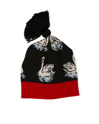 Swan-Print Beanie Hat W/Pompom, Black