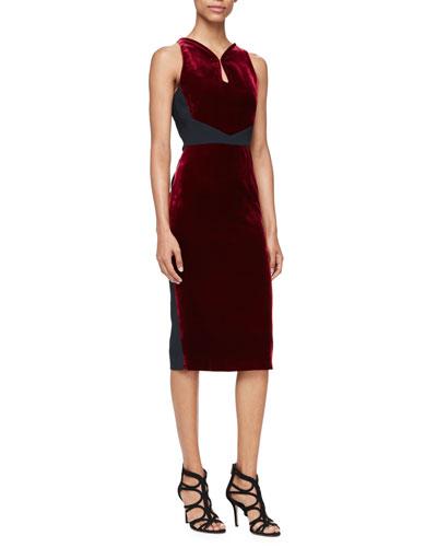 Sleeveless Velvet Sheath Dress, Burgundy/Black