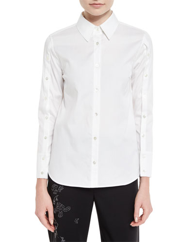 Button-Sleeve Long-Sleeve Blouse, White
