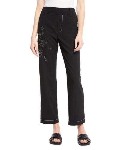 Trompe l'Oeil Floral-Embroidered Pants, Black