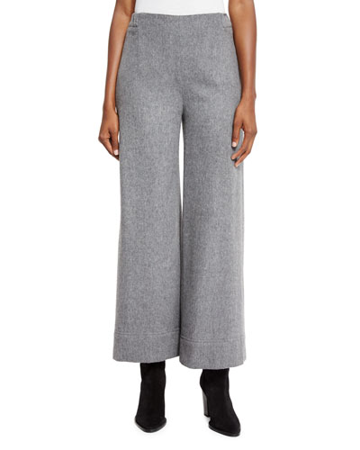 Wide-Leg Wool Pants, Gray