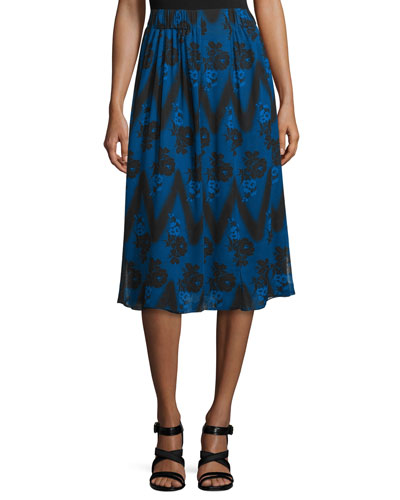 Floral Zigzag Pleated Skirt, Blue