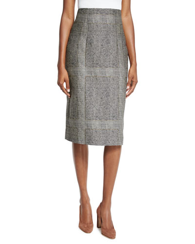 Herringbone Pencil Skirt, Gray/Black