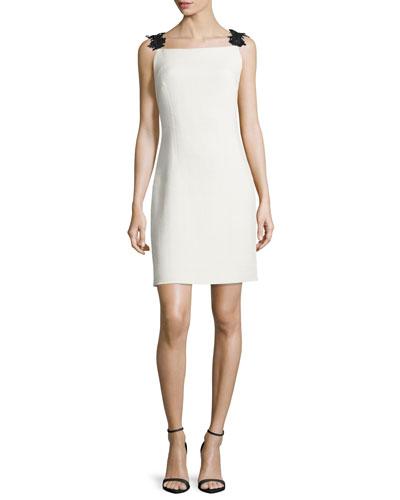 Embellished-Strap Sheath Dress, Ecru