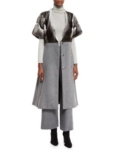 Rabbit-Fur Flannel Long Coat, Brown/Gray