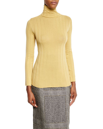 Ribbed Turtleneck Sweater, Ochre