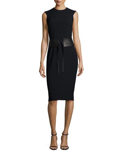 Sleeveless Trapunto-Bib Sheath Dress W/Satin Belt, Black