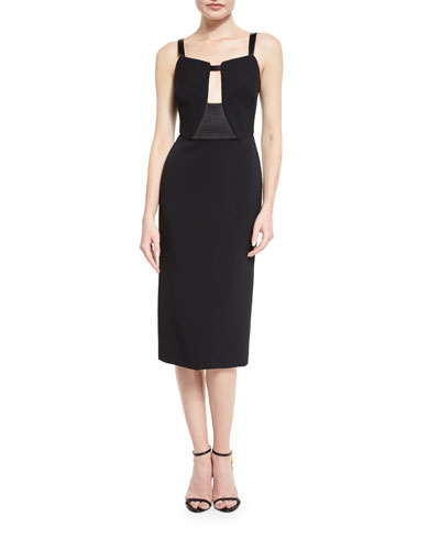 Sleeveless Keyhole Midi Dress, Black