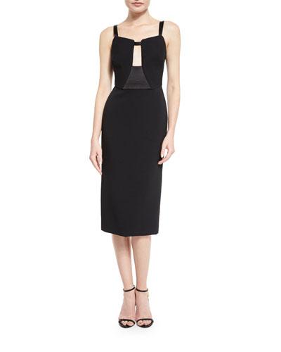 Sleeveless Keyhole Midi Dress, Black