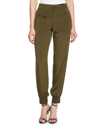 High-Rise Banded-Cuff Pants, Dark Olive