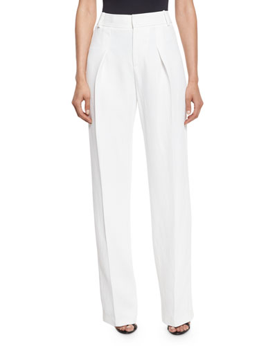 Inverted-Pleat Straight-Leg Trousers, Chalk