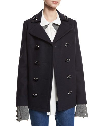 Double-Breasted Wool Pea Coat, Navy