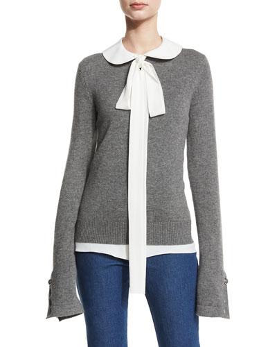 Cashmere Button-Cuff Sweater, Banker Melange