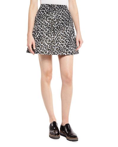 Sage Leopard-Print A-Line Mini Skirt, Black/Gold