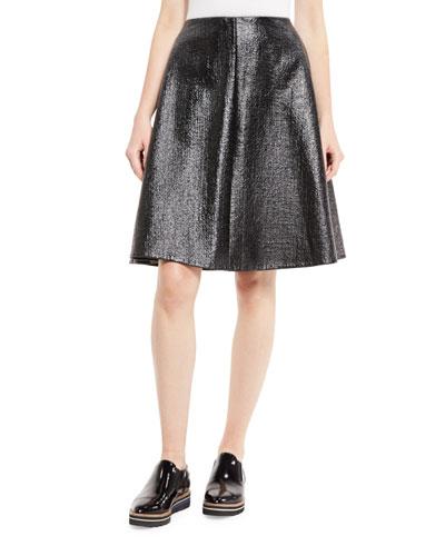 Laminated Boucle Full Skirt, Black