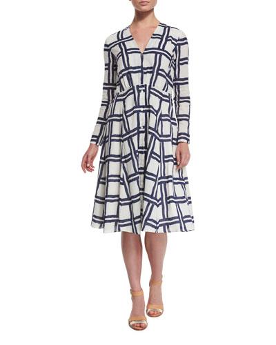 Windowpane Long-Sleeve V-Neck Dress, White/Navy