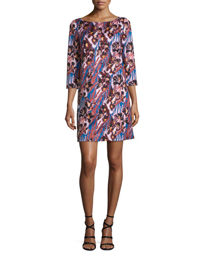 Printed 3/4-Sleeve A-Line Dress, Blue/Black/Multi