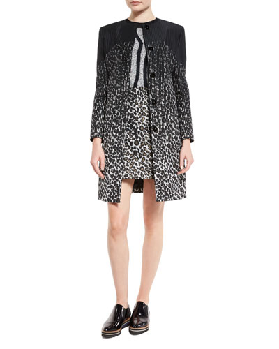 Leopard-Print Jewel-Neck Coat, Black/Gold