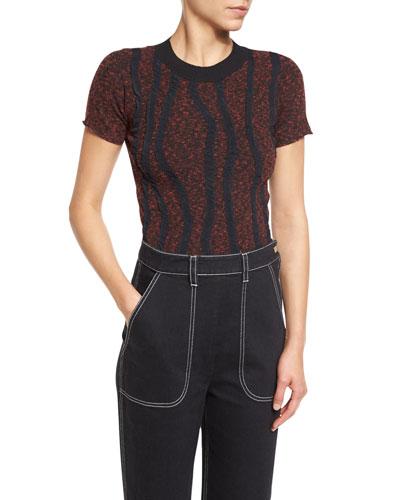 Soutache-Appliqué Short-Sleeve Sweater, Black/Red