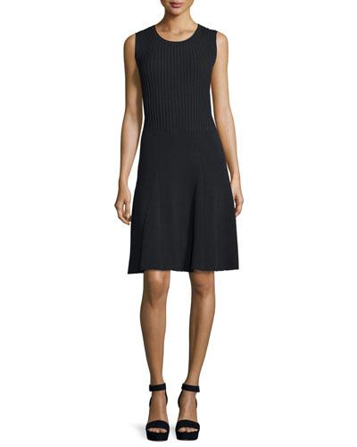 Sleeveless Ribbed A-Line Dress, Black