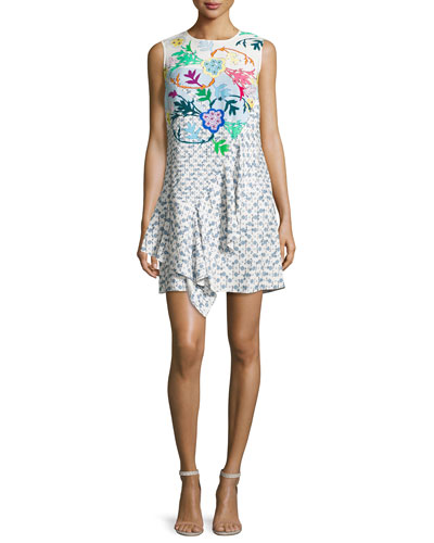 Sleeveless Floral Ruffled Dress, White