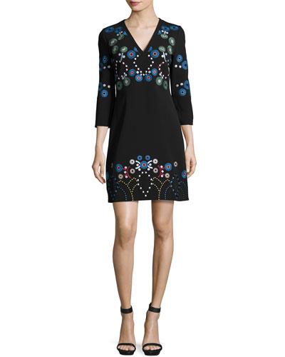 Embroidered Long-Sleeve V-Neck Dress, Black