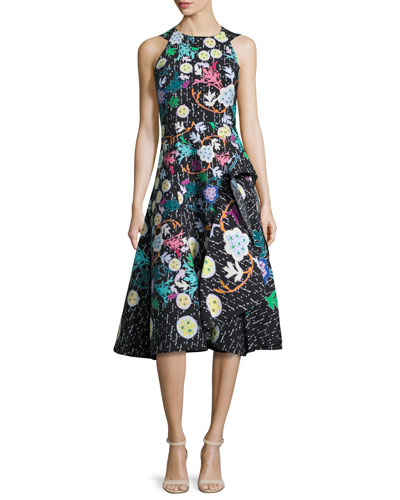 Sleeveless Asymmetric-Ruffle Printed Dress, Black