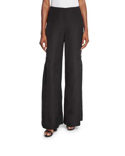 Pleated-Side Wide-Leg Pants, Black