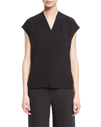Netal V-Neck Silk Shell, Black
