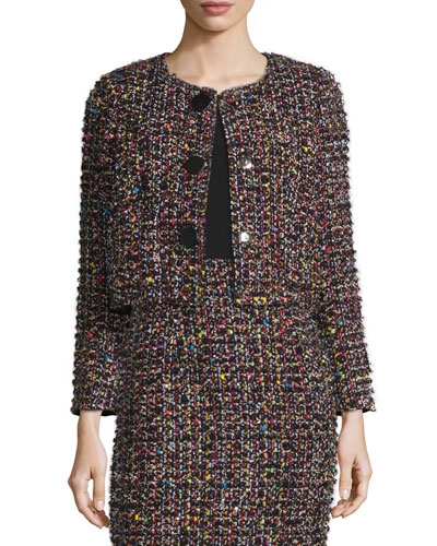 Sequined Tweed Cropped Jacket, Black