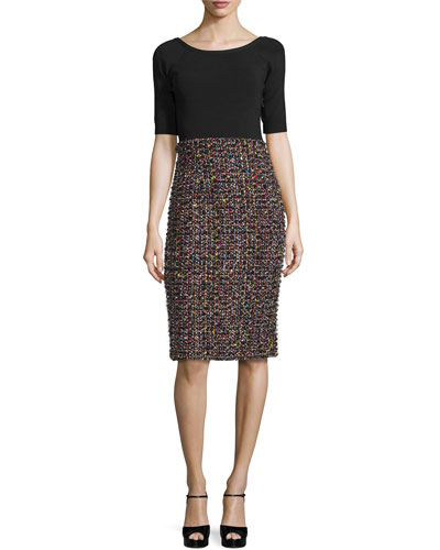 Sparkle Tweed Half-Sleeve Dress, Black/Multi