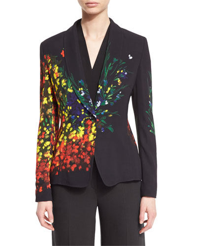 Floral-Print One-Button Jacket, Multicolor