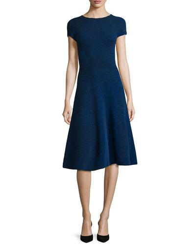 Short-Sleeve Ribbed Chenille Dress, Bluebell
