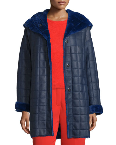 Hooded Quilted Shearling Coat, Bluebell
