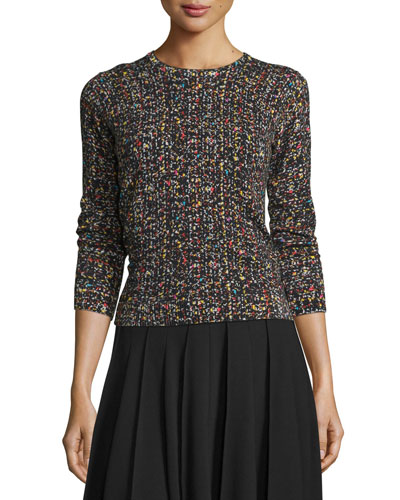 Tweed 3/4-Sleeve Sweater, Multicolor