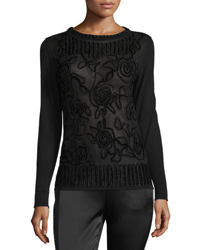 Chenille Crewneck Pullover Sweater, Black