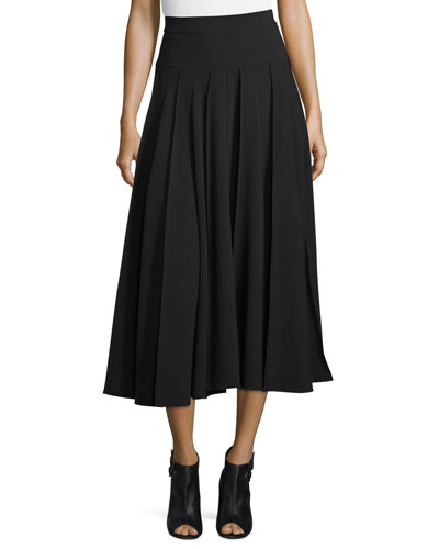 Pleated A-Line Midi Skirt, Black