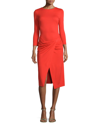 Bracelet-Sleeve Faux-Wrap Dress, Red