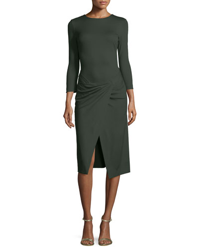 Bracelet-Sleeve Faux-Wrap Dress, Green