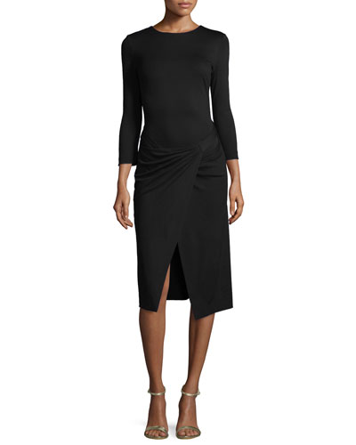 Bracelet-Sleeve Faux-Wrap Dress, Black