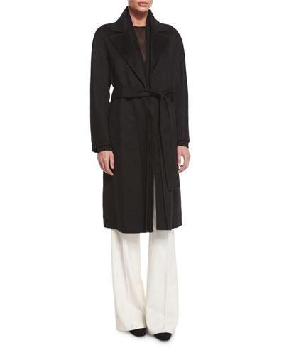 Cashmere Wrap Long Coat, Black