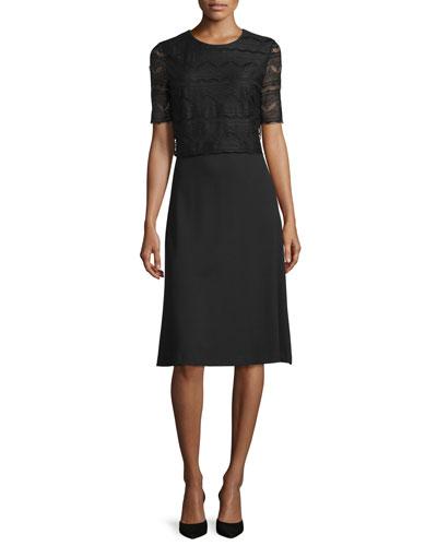 Half-Sleeve Dress w/Lace Overlay, Black