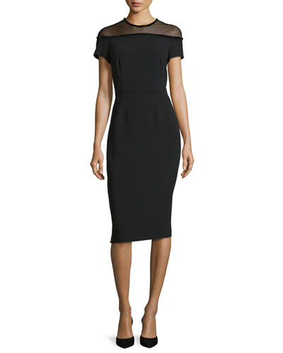 Short-Sleeve Beaded Illusion Pencil Dress, Black