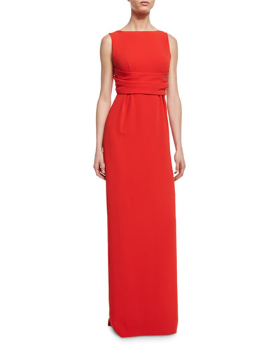 Ruched-Waist Sleeveless Gown, Red