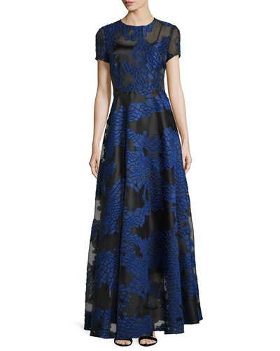 Short-Sleeve Fil Coupe Gown, Black/Blue