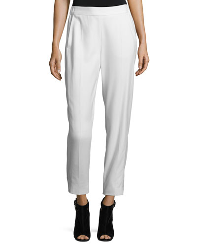Twill Pull-On Pants, Off White