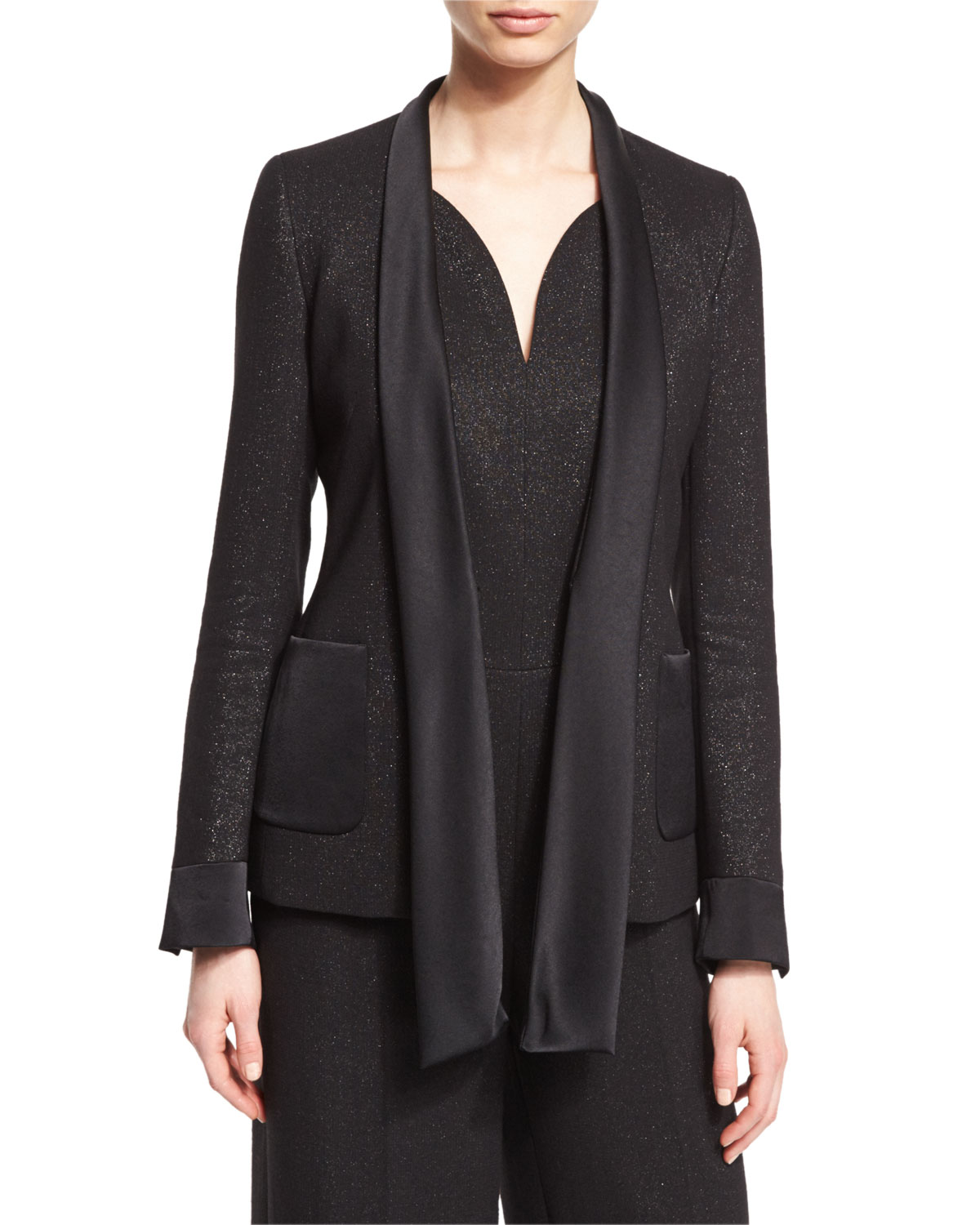 Shimmery Satin-Tie Jacket, Black
