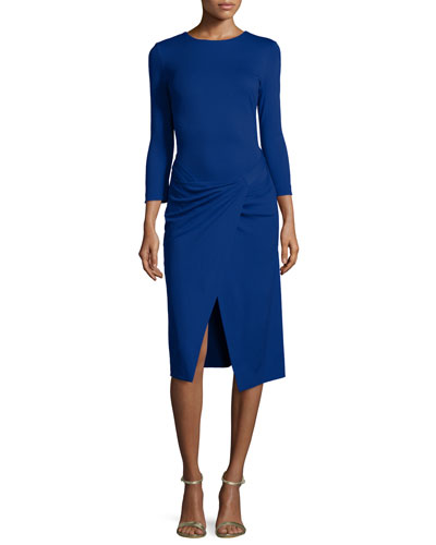 Bracelet-Sleeve Faux-Wrap Dress, Bluebell