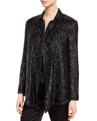 Eve Sequined Open-Front Jacket, Black